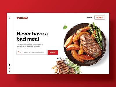 Zomato Web Concept UI zomato portaldesign foodui foodwebdesign fooddesign portalconcept webdesign uiinspiration webconcept webportal uiux uidesign