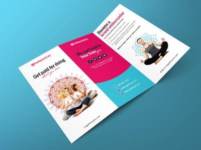 YogiApproved Trifold Brochure print minimal pink brochuredesign printdesign trifold