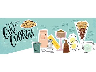 Chocolate Chip Cake Cookie Recipe vector illustration cookbook fifties shag hip mod retro vector recipe food illustration illustration food