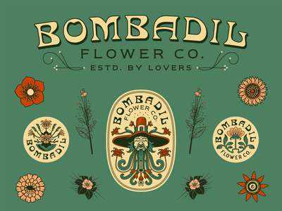 Bombadil Flowers Co. - Tear Sheet linework vector typography reno badge design flower company flowers classic vintage tear sheet playful graphic design identity branding illustrator illustration