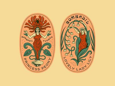 Bombadil Flower Co - Badge Design classic brand identity identity badge design badge reno typography vintage line art illustration illustrator