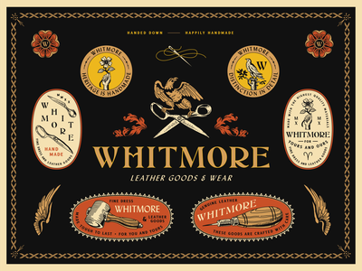 Whitmore Leather Goods & Dress Identity leather leather goods hand bird needle thread scissors badge design vector identity logo typography branding design badge linework illustration