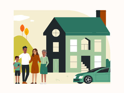 Happiest of Homes illustrator vector 2d insurance family brooklyn houses homes illustration