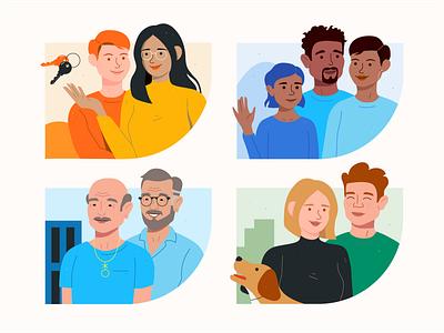 Families for Covered pet family insurance design vector 2d couples couple illustration portrait illustration