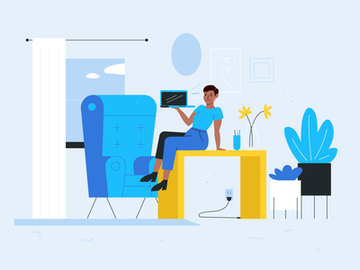 Home Office Work Illustration workspace character startup flat design empowered illustrations woman work office graphic design illustration