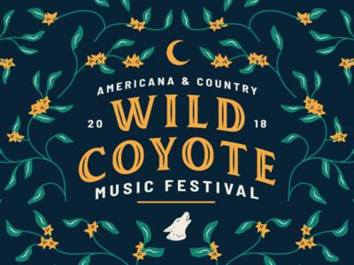 🌼🌱 Wild Coyote Filigree music festival floral filigree coyote illustration folk americana