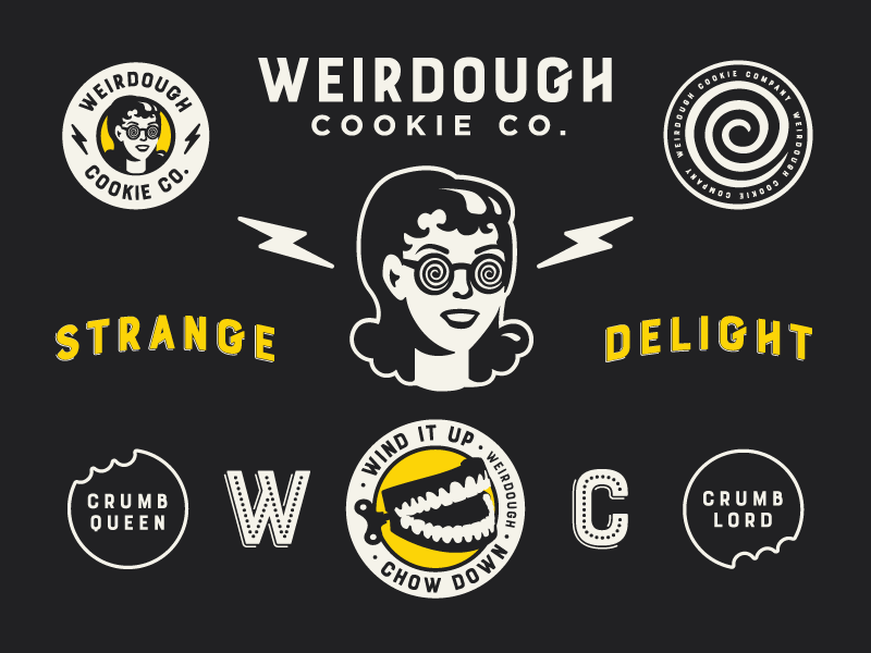 Weirdough - Identity punk lightning new york cookie badge brooklyn nyc typography illustration design brand