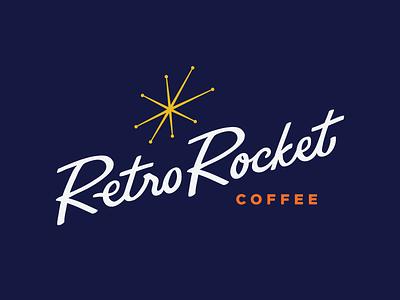 RetroRocket - Brandmark coffee design logo wordmark retro mid century branding identity handletter script