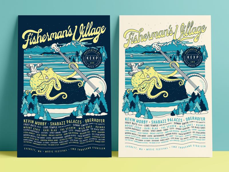 Fisherman's Village - Lineup Posters 🐙 linework banjo typography washington event poster octopus illustration identity music festival lettering