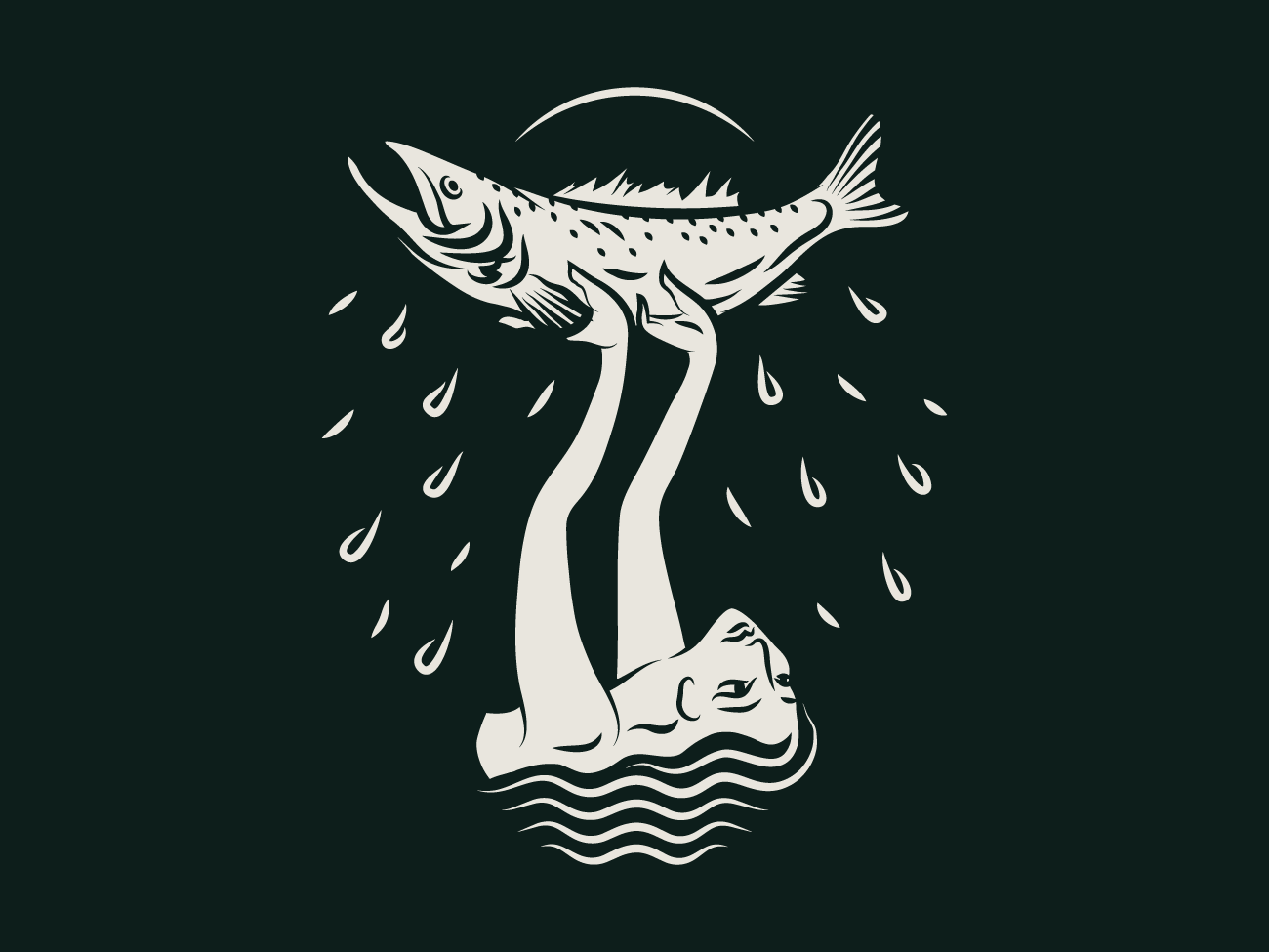 Hands Full of Living brooklyn splash fish waves female badge illustration fishing trout