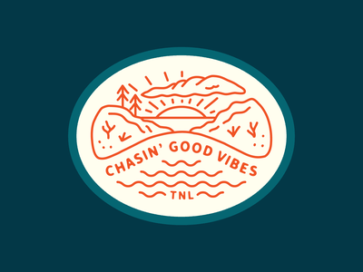 Chasin' Good Vibes Patch lake patch badge good vibes tahoe nevada linework illustration