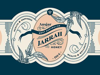 Jarrah Honey Label linework topical reno nyc health wellness leaves illustration identity branding label packaging australia honey