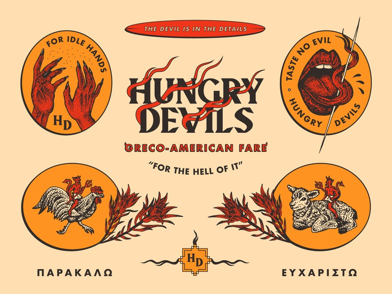 Hungry Devils design branding lamb chicken nevada typography brooklyn reno logo tongue hands greek devil illustration