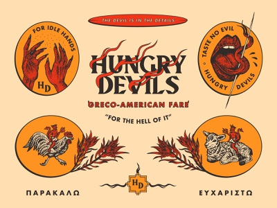 Hungry Devils design branding lamb chicken nevada typography brooklyn reno logo tongue hands greek devil illustration