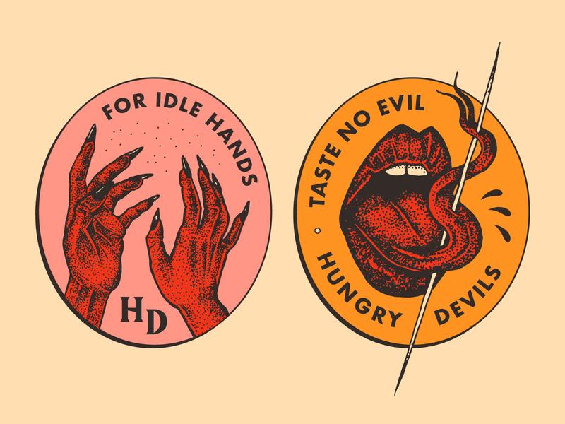For Idle Hands / Taste No Evil badge food truck brooklyn nevada reno new york design evil tongue hands devil brand illustration