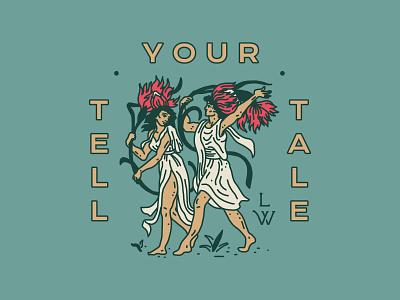 Little Wild - Tell Your Tale storybook newyork brooklyn nevada reno linework design drawing art flowers identity branding badge handdrawn illustration