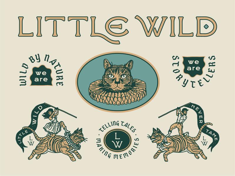 Little Wild - Identity custom lettering hand drawn linework identity folk blackletter cats typography brooklyn nyc new york brand badge illustration