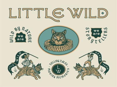 Little Wild - Identity custom lettering hand drawn linework identity folk blackletter cats typography brooklyn nyc new york brand badge illustration