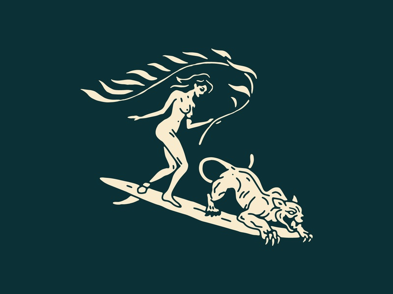 Shredding Partners portugal graphics apparel beach woman travel nude panther seaweed surfboard surf new york design brooklyn linework illustration