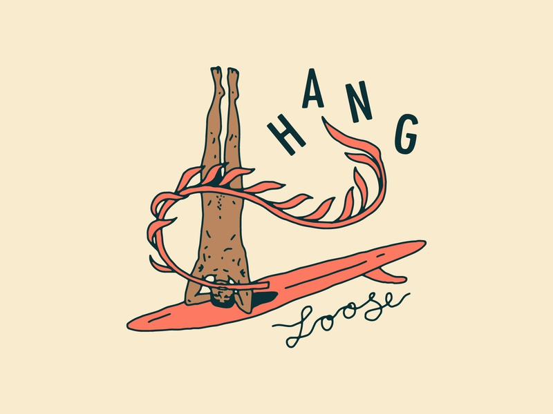 Hang Loose surfing headstand hang loose portugal hand drawn beach nude man seaweed surfboard linework illustration