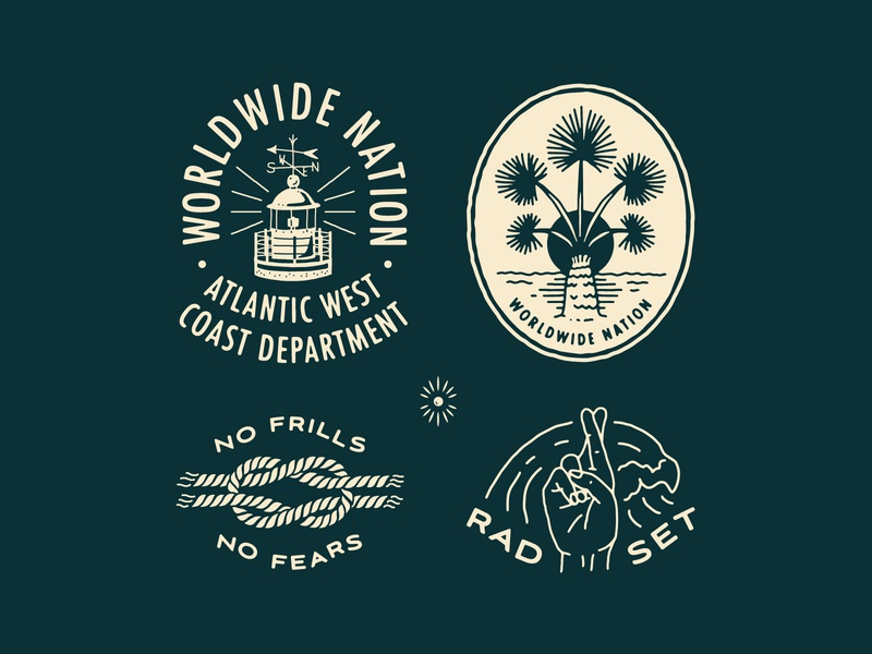 WWN Badge Set design studio beach surf typography patches apparel identity badges linework wave knots rope lighthouse palm illustration