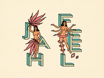 Jah Feel psychedelic california typography smoke psychadelic farms tahoe packaging cannabis design branding identity linework illustration