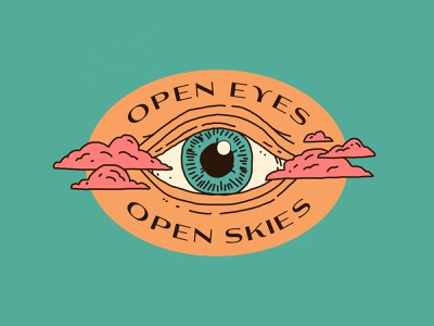Open Eyes / Open Skies monoline identity nevada california psychadelic cannabis packaging branding badge illustration clouds eye