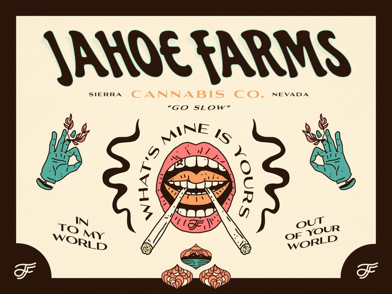 Jahoe Farms - Identity monogram typography identity branding trippy psychadelic weed tahoe nevada cannabis linework illustration