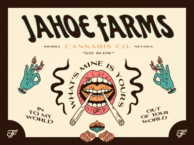 Jahoe Farms - Identity psychedelic monogram typography identity branding trippy psychadelic weed tahoe nevada cannabis linework illustration