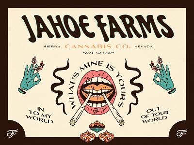 Jahoe Farms - Identity psychedelic monogram typography identity branding trippy psychadelic weed tahoe nevada cannabis linework illustration