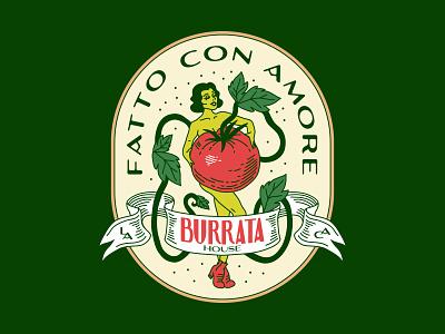 BH - 🍅Tomato Love burrata tomato badge woman design identity italian los angeles linework illustration
