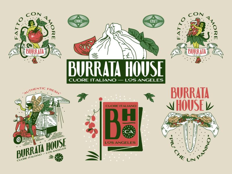 Burrata House Identity characters typography branding la illustration logo identity design tear sheet icons cheese italian italian food apecar graphic design linework