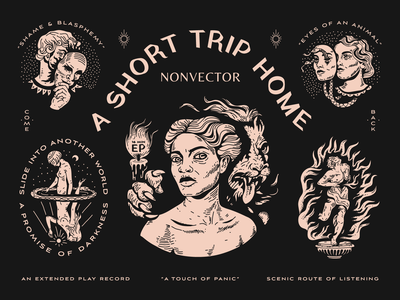 A Short Trip Home - An Extended Play Record music packaging man typography nyc branding mask snakes lion woman fire reno brooklyn nevada linework illustration