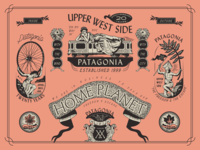 Patagonia Upper West Side Anniversary monogram subway woman birds patagonia upper west side new york city brooklyn linework illustration badge