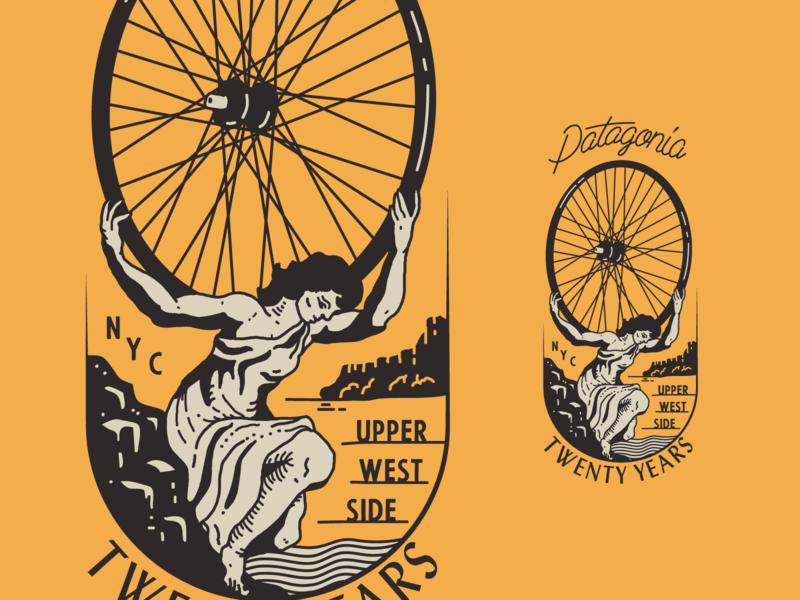 Patagonia UWS Bike Badge design river badge woman wheel bike upper west side new york city brooklyn linework illustration