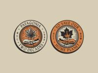 Patagonia UWS20 - Stickers terracotta linework sticker design nyc brooklyn autumn leaf handmade badge illustration