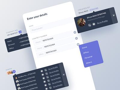 Dashboard Components dark text card clean dashboard mobile number textfield components dashboard