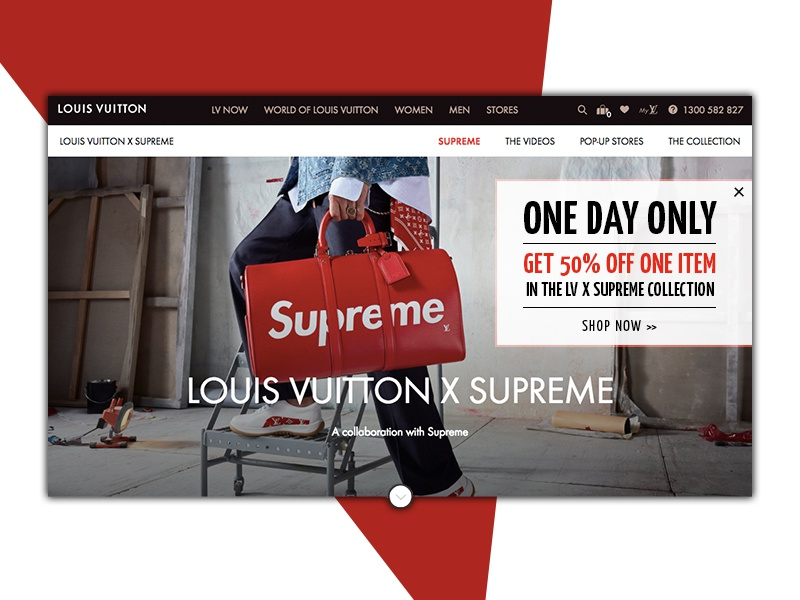 Ecommerce Pop Up // Daily UI 16 red vuitton louis supreme retail ecommerce alert message pop up ui daily ui