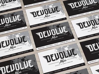Devolve Moto business cards moto raleigh design print cards business branding