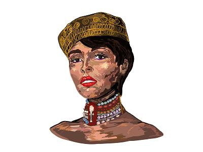 Janelle Monae painting portrait designer procreate women black girl magic rap music hiphop janelle monae illustration