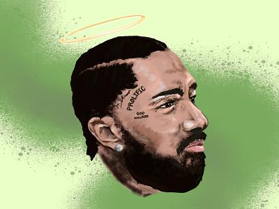 RIP Nipsey Hussle realism digital painting illustration portrait procreate hip hop rip rapper nipsey hussle