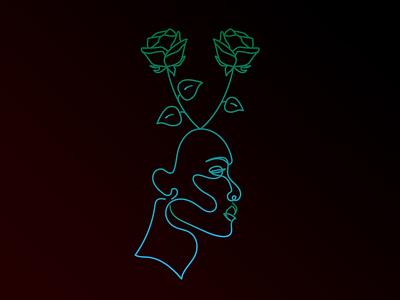 rose lady procreate illustration silhouette rose gradient lineart line design