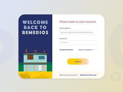 Welcome Back to Remedios cuba login dailyui 001