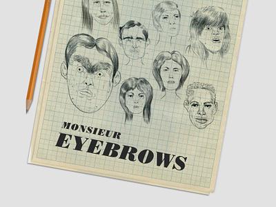 Monsieur Eyebrows yearbook pencil drawing portraits illustration