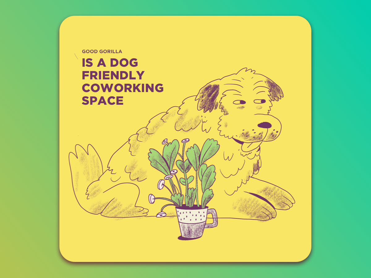 A dog friendly space design ui plant dog procreate pencil coworking space drawings illustration