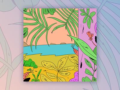 Hot Summer Days plants beach color coastarica illustration