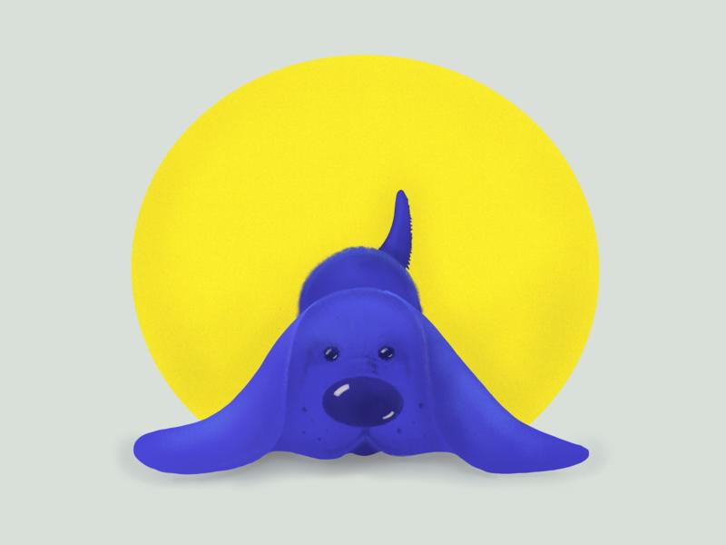 Midday procrastination- Blueberry dog illustration