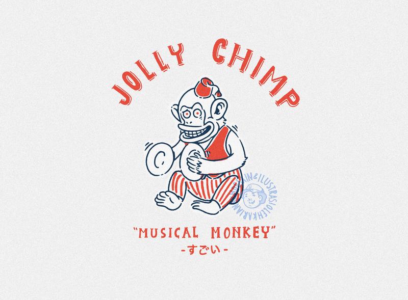 Jolly Chimp badge logo badge design adobe illustrator vintage badge logo summer merch design illustration design for sale tshirt design