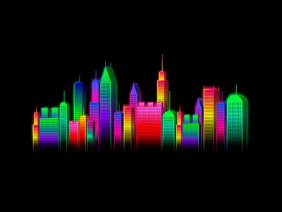 Little City skyscraper rascacielo edificio building luces night black colors lights ciudad city