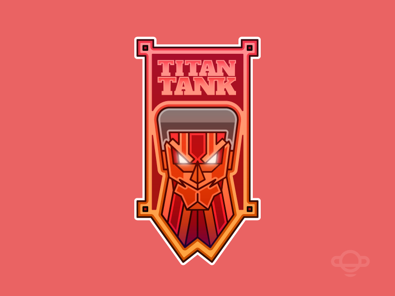 Badge Design - Armored Titan typo manga illustration vector colors anime branding badge